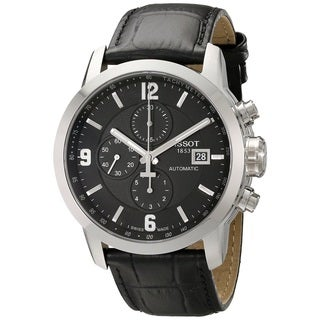 Tissot Men's Prc 200 T055.427.16.057.00 Black Leather Swiss Automatic Watch with Black Dial