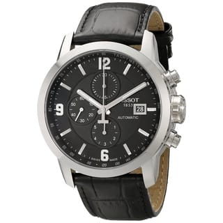 Tissot Men's Prc 200 T055.427.16.057.00 Black Leather Swiss Automatic Watch with Black Dial|https://ak1.ostkcdn.com/images/products/9616066/P16801562.jpg?impolicy=medium