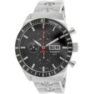 Tissot Men's T044.614.21.051.00 Silver Stainless-Steel Swiss Chronograph Watch with Black Dial