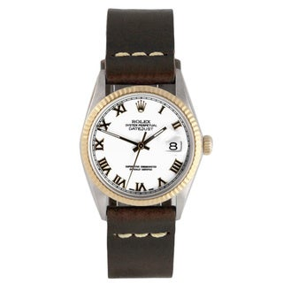 Pre-Owned Rolex Men's Two-tone Datejust Brown Leather Watch