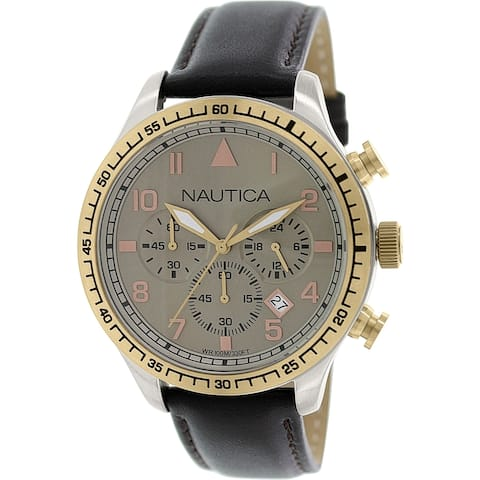 Nautica Men's N17656G 'BFD' Chronograph Brown Leather Watch