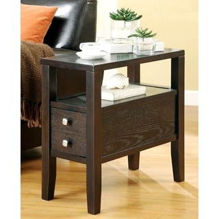 Casual Cappuccino Accent Table with Drawer