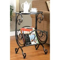 Scrolling Design Metal and Glass Top Accent Table with Magazine Rack