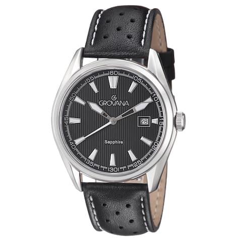 Grovana Men's 1584.1533 Black Dial Black/White Leather Strap Quartz Watch