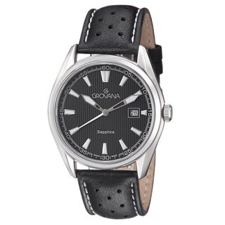 Grovana Men's 1584.1533 Black Dial Black/White Leather Strap Quartz Watch