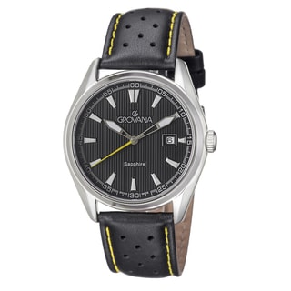 Grovana Men's 1584.1538 Black Dial Black/Yellow Leather Strap Quartz Watch