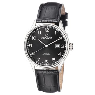 Grovana Men's 1190.2537 Black Dial Black Leather Strap Day Automatic Watch