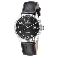 Grovana Men's  Black Dial Black Leather Strap Day Automatic Watch