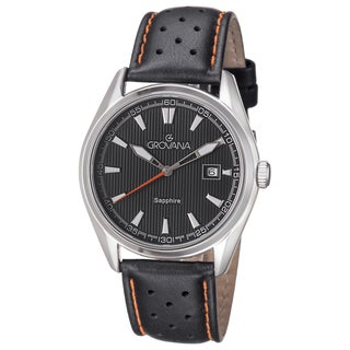 Grovana Men's 1584.1539 Black Dial Black/Orange Leather Strap Quartz Watch