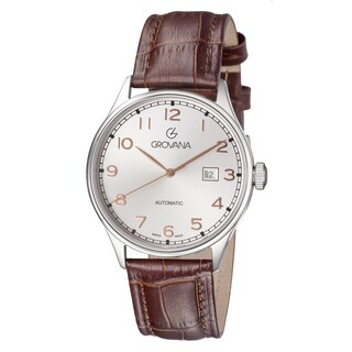Grovana Men's Silver Dial Brown Leather Strap Day Automatic Watch