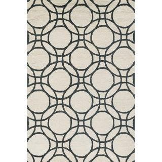 Hand-hooked Meadow Ivory/ Black Wool Rug (3'6 x 5'6)
