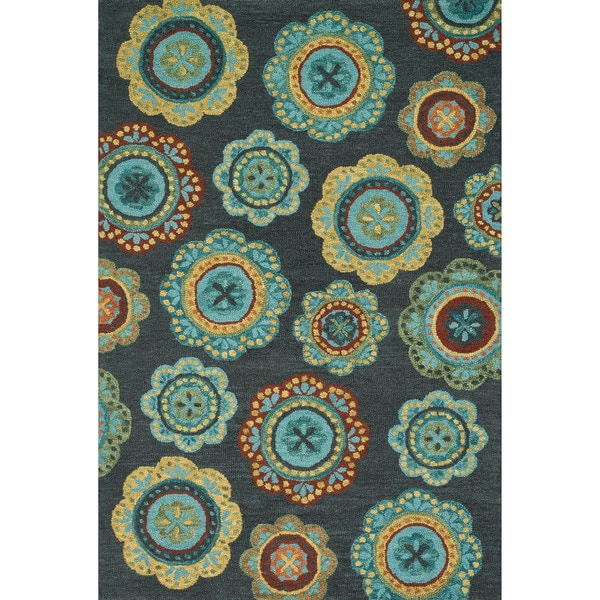 Hand-hooked Meadow Midnight/ Teal Multi Wool Rug (5'0 X 7