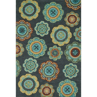 Hand-hooked Meadow Midnight/ Teal Multi Wool Rug (9'3 x 13'0)