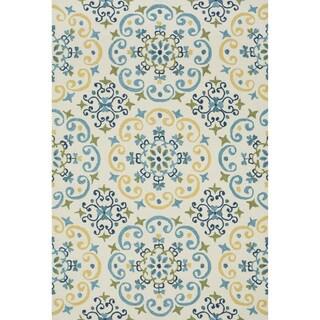 Hand-hooked Charlotte Ivory/ Light Blue Rug (2'3 x 3'9)