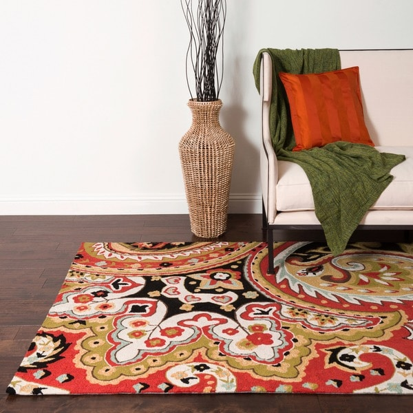 "Hand-hooked Charlotte Red/ Black Paisley Rug - 3'6"" x 5'6"""