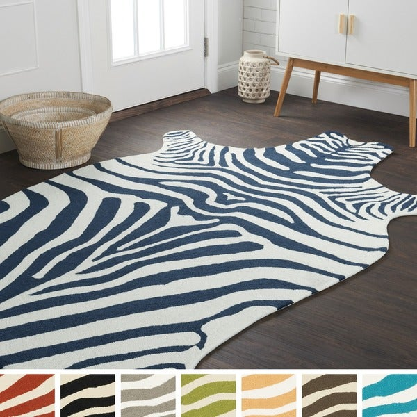 Hand Hooked Indoor Outdoor Zebra Patio Area Rug 5 X27