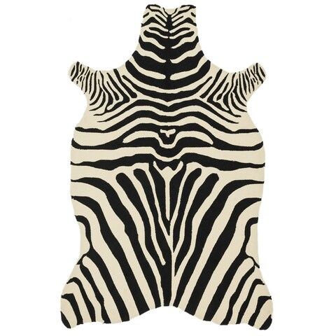 Hand-hooked Indoor/ Outdoor Zebra Patio Area Rug