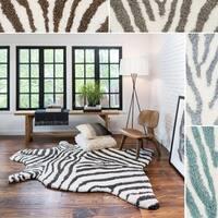 Clay Alder Home Osage Creek Hand-tufted Kingdom Zebra Shag Rug (5'0 x 7'6)