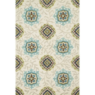 Hand-hooked Meadow Ivory/ Spa Wool Rug (7'10 x 11'0)
