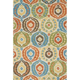 Hand-hooked Meadow Ivory/ Multi Wool Rug (7'10 x 11'0)