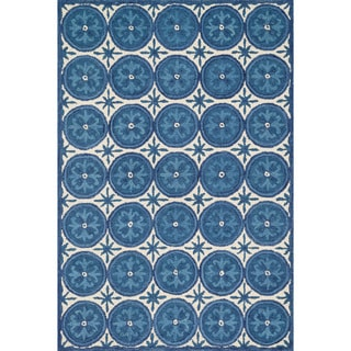 Hand-hooked Meadow Ivory/ Blue Wool Rug (9'3 x 13'0)