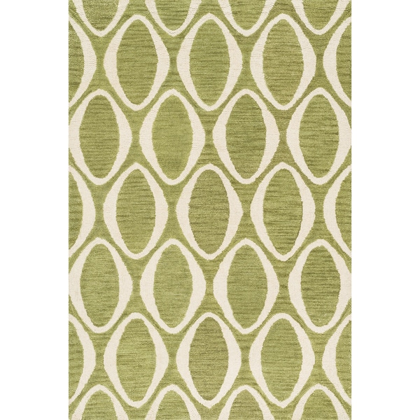 Hand-hooked Meadow Lime/ Ivory Wool Rug (7'10 x 11'0)
