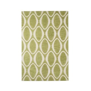 Hand-hooked Meadow Lime/ Ivory Wool Rug (5'0 x 7'6)