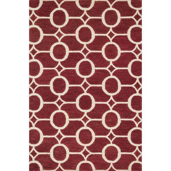 "Hand-hooked Red/ Ivory Geometric Wool Rug - 9'3"" x 13'"