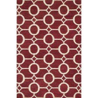 Hand-hooked Meadow Red/ Ivory Wool Rug (9'3 x 13'0) - 9'3 x 13'0