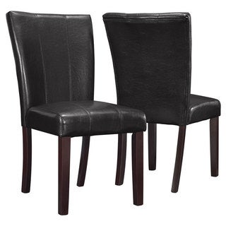 Dark Brown Leather-Look Parson Chair (Set of 2)