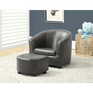 Kids' Charcoal Grey Leather-Look 2-piece Chair and Ottoman Set