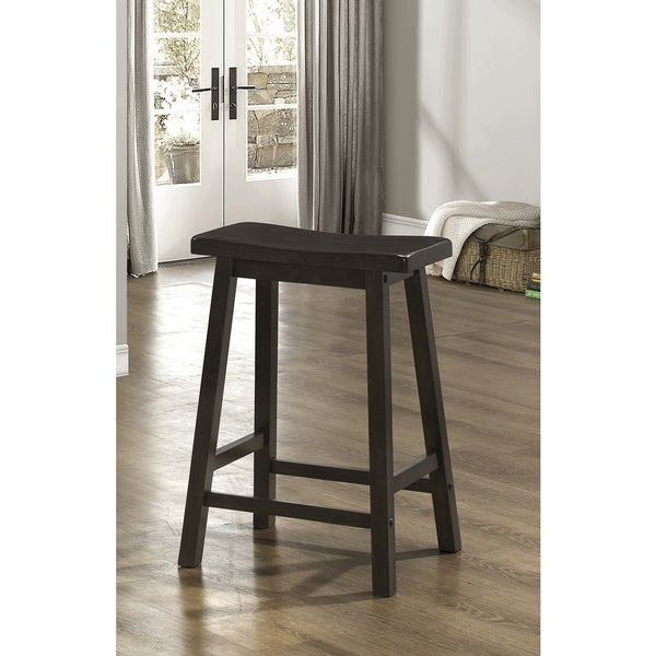 Cappuccino 24 Inch Saddle Seat Barstools Set Of 2 Free