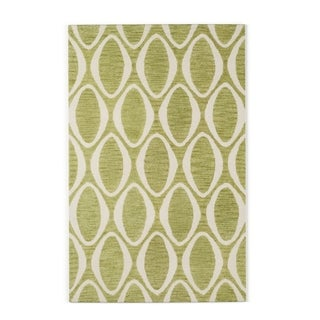 Hand-hooked Meadow Lime/ Ivory Wool Rug (3'6 x 5'6)
