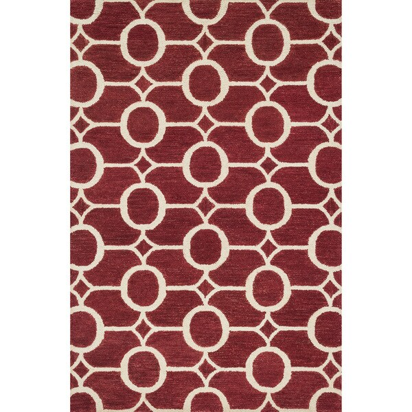 """Hand-hooked Meadow Red/ Ivory Wool Rug (3'6 x 5'6) - 3'6"""" x 5'6"""""""