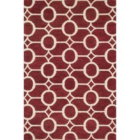 Hand-hooked Meadow Red/ Ivory Wool Rug (3'6 x 5'6)