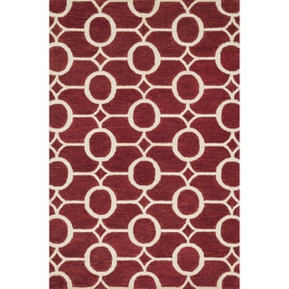 Hand-hooked Meadow Red/ Ivory Wool Rug (7'10 x 11'0)