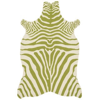 Indoor/ Outdoor Hand-hooked Savannah Zebra Rug (3'6 x 5'6) (Option: Green/Ivory)
