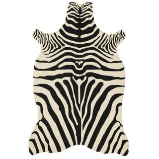 Indoor/ Outdoor Hand-hooked Savannah Zebra Rug (3'6 x 5'6) (Option: Black/Ivory)
