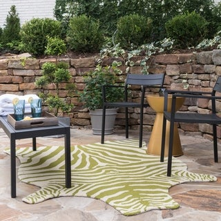 Indoor/ Outdoor Hand-hooked Savannah Zebra Rug (3'6 x 5'6) (Option: Navy)