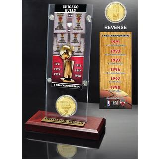 NBA Chicago Bulls 6-time NBA Champions Ticket and Bronze Coin Acrylic Desk Top