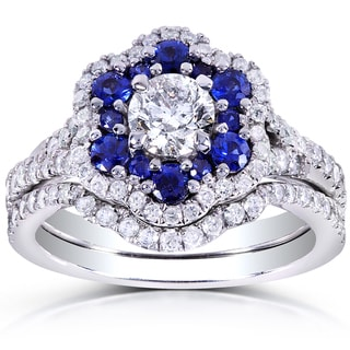 Annello by Kobelli 14k White Gold Round Blue Sapphire and 1 1/10ct TDW Floral Diamond Bridal Set
