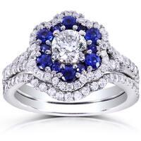 Annello by Kobelli 14k White Gold Round Blue Sapphire and 1 1/10ct TDW Floral Diamond Bridal Set