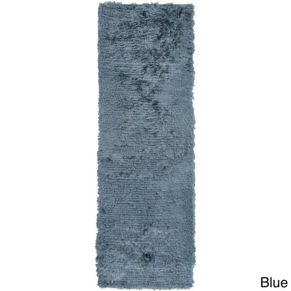 Hand Woven Helga Polyester Shag Area Rug-(2'6 x 8')