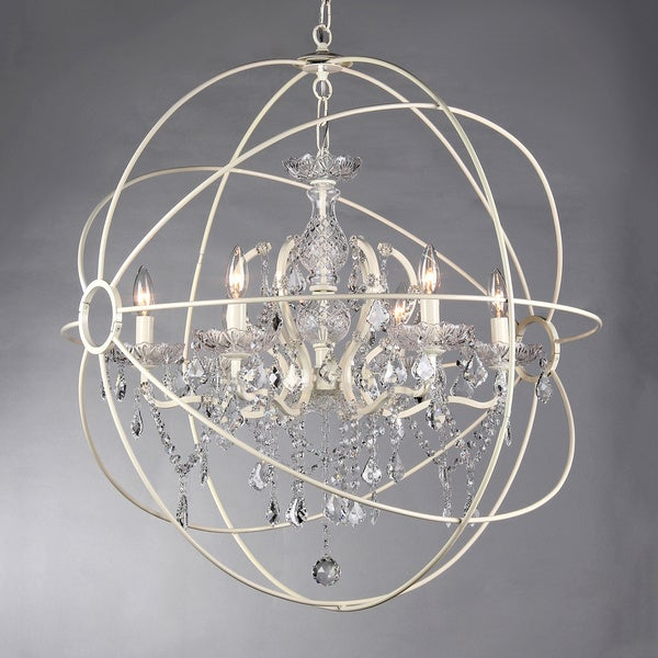 Rosielee 6-light Crystal 32-inch White Chandelier
