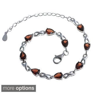 De Buman Sterling Silver Natural Garnet, Peridot, Amethyst or Multi-colored Gemstone Bracelet