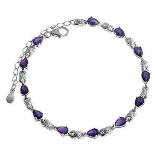 De Buman Sterling Silver Natural Garnet, Peridot, Amethyst or Natural Multi-colored Gemstones Bracelet