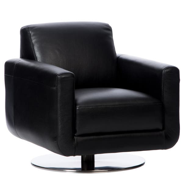 Astonishing Shop Natuzzi Siena Black Italian Leather Swivel Chair Free Squirreltailoven Fun Painted Chair Ideas Images Squirreltailovenorg