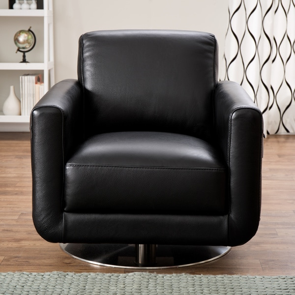 Shop Natuzzi Siena Black Italian Leather Swivel Chair