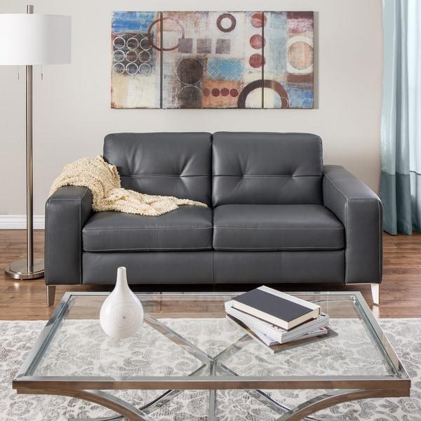 Italian Sofa Brent Cross: Natuzzi Savona Grey Italian Leather Loveseat