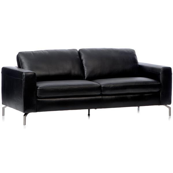 Shop Natuzzi Rovigo Black Italian Leather Metal-leg Sofa ...